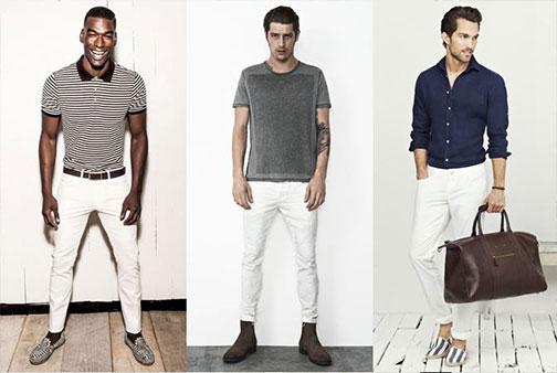 Bílé kalhoty pro muže vypadají vždy dobře s tmavším svrškem. 5cfe737f93